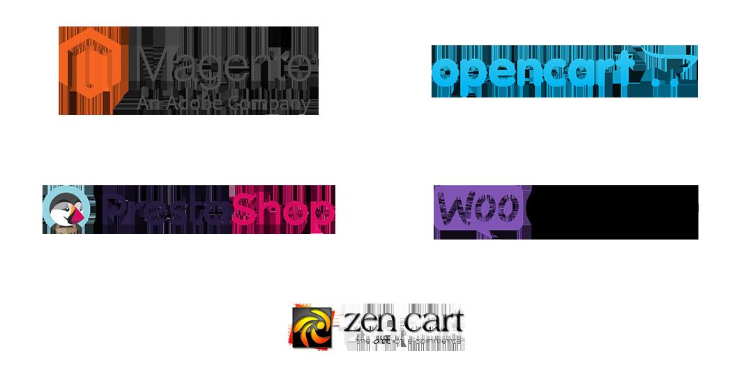 Magento, OpenCart, ZenCart, WooCommerce, PrestaShop logos