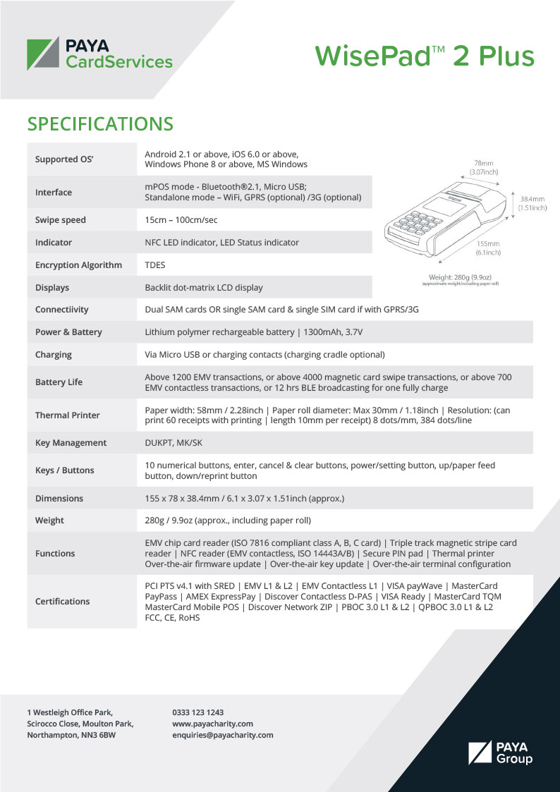 WisePad 2 Plus Specification