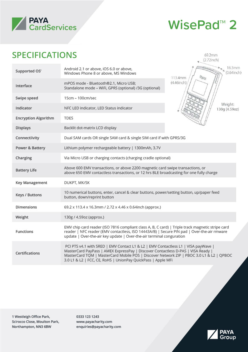 WisePad 2 Specification